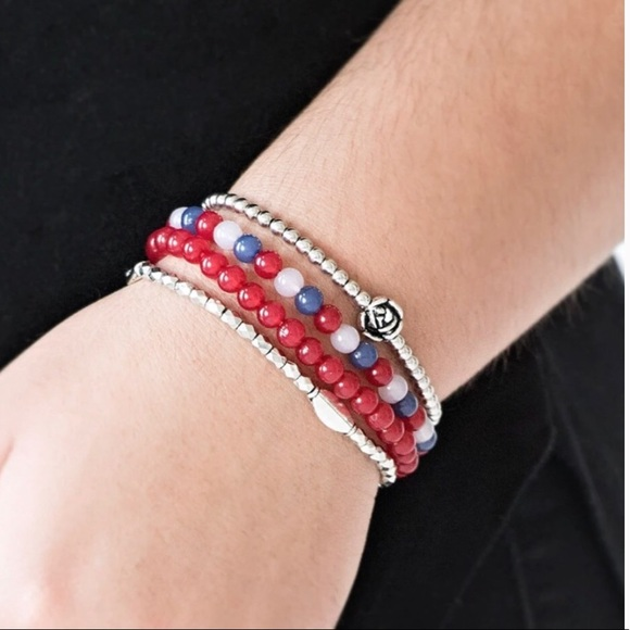 J63 Bracelet >red,white,blue stretchy bracelet